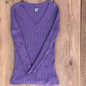 Eddie Bauer ribbed vneck sweater heather purple XL
